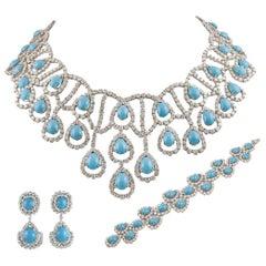 Platinum Diamond and Turquoise Suite Necklace