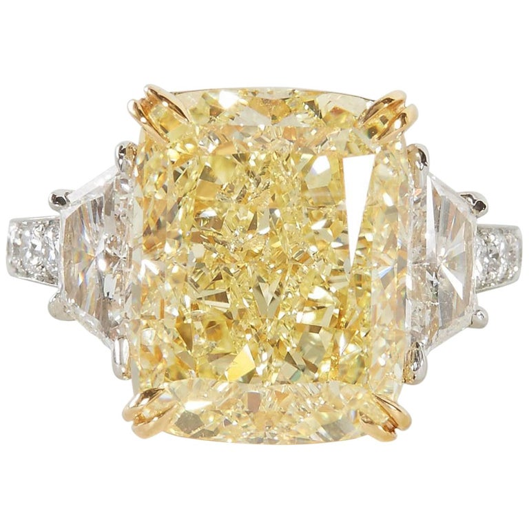 10 carat Fancy Yellow GIA Diamond Ring For Sale