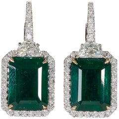 Green Emerald and Diamond Dangle Drop Earring