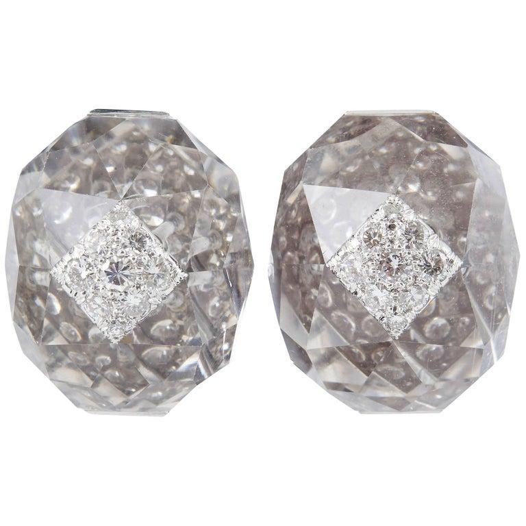 David Webb Rock Crystal Diamond Platinum Ear Clips and Ring