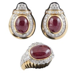David Webb Diamond Ruby Gold Earrings and Ring