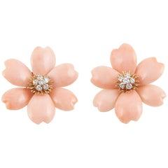 Van Cleef & Arpels Rose De Noel Coral Earrings