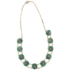 Jade and Pink Tourmaline Gold Necklace