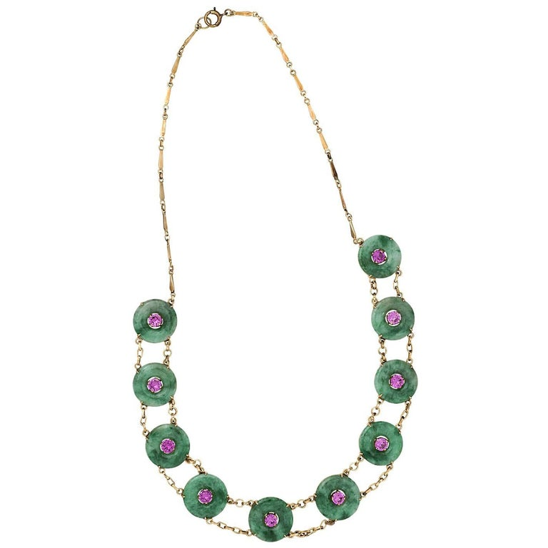 Jade and Pink Tourmaline Gold Necklace For Sale