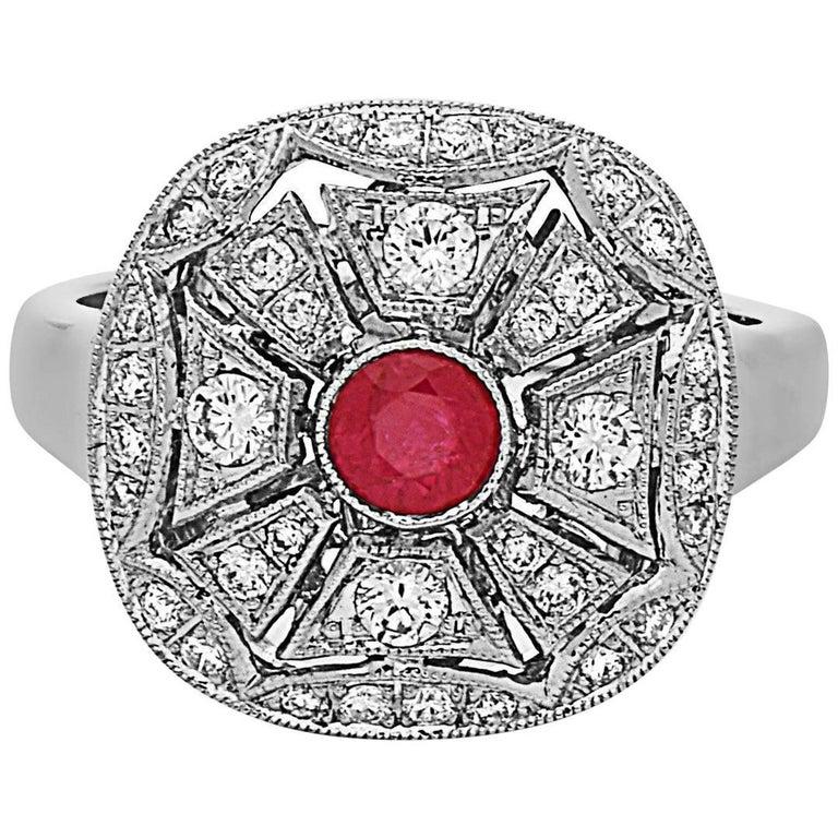 Emilio Jewelry Ruby Diamond Ring