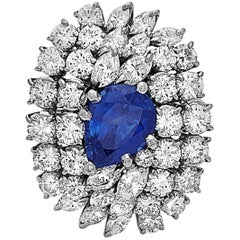 8.00 Carat over the Top Sapphire Diamond Ring