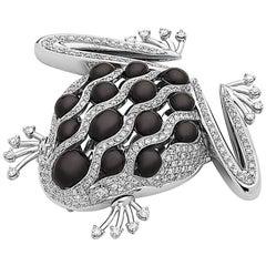 Emilio Jewelry Unique Diamond Frog Brooch