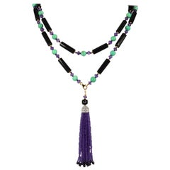 Decadent Jewels Amethyst Chrysophase Spinal Onyx Sautoir Tassel Gold Necklace