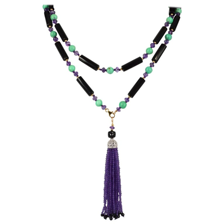 Decadent Jewels Amethyst Chrysophase Spinal Onyx Sautoir Tassel Gold Necklace For Sale