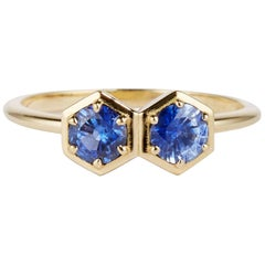 Cushla Whiting 'Double Hex' Sapphire and Gold Ring