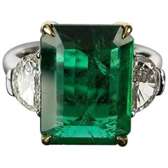 Classic Three-Stone Zambian Emerald and Diamond Cocktail Ring