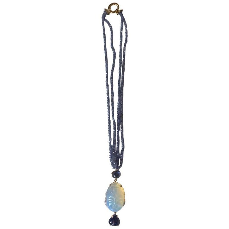 Opal Tanzanite Gold Blu  Buddha Necklace