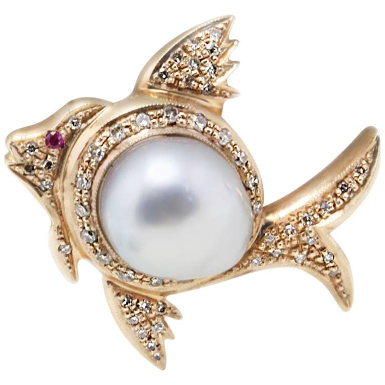 Pearl Diamonds and Ruby Fish Shape Gold Pendant