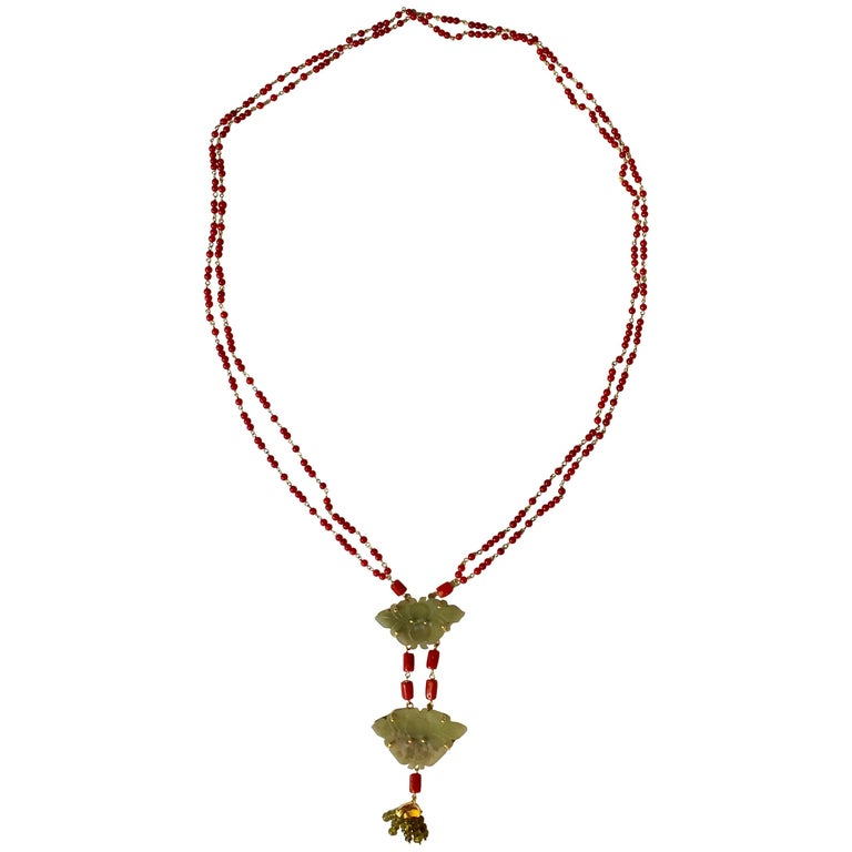 Chinese Button Necklace Coral Gold Jade 1