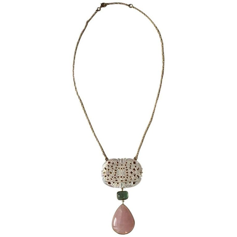 Green Tourmaline Rose Quartz Drop Gold Mother-of-Pearl Cathedral Necklace