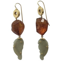 Long Gold Jade Faced Amber Earrings
