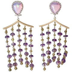 Gold Opal Diamonds Amethyst Vesuvianite Pagoda Earrings