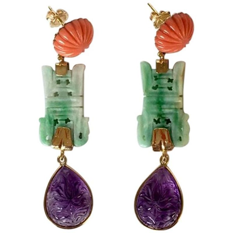Carved Coral Carved Jade Carved Amethyst Gold Kabul Earrings
