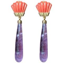 Fan Earrings Coral Amethyst Drops Gold