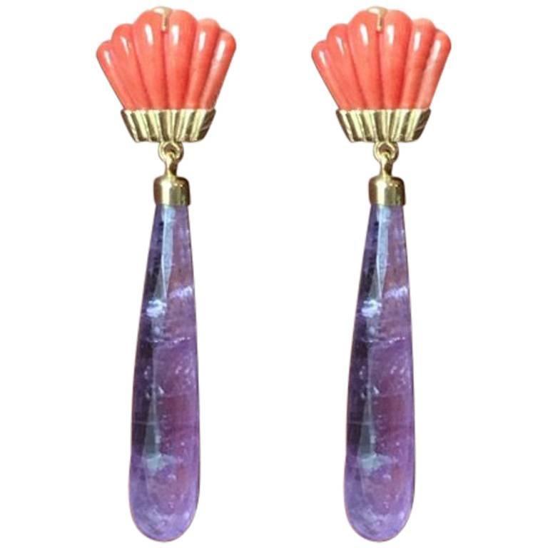 Coral Amethyst Drops Gold Fan Earrings