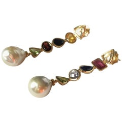 Earrings Natural Pearls Tourmaline Citrine Peridot Sapphire Gold