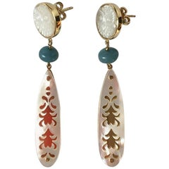 Earrings Mother-of-Pearl Gold Aquamarine