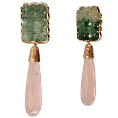 Antiques Jade Rose Quartz Briolè Drops Rose Gold Earrings