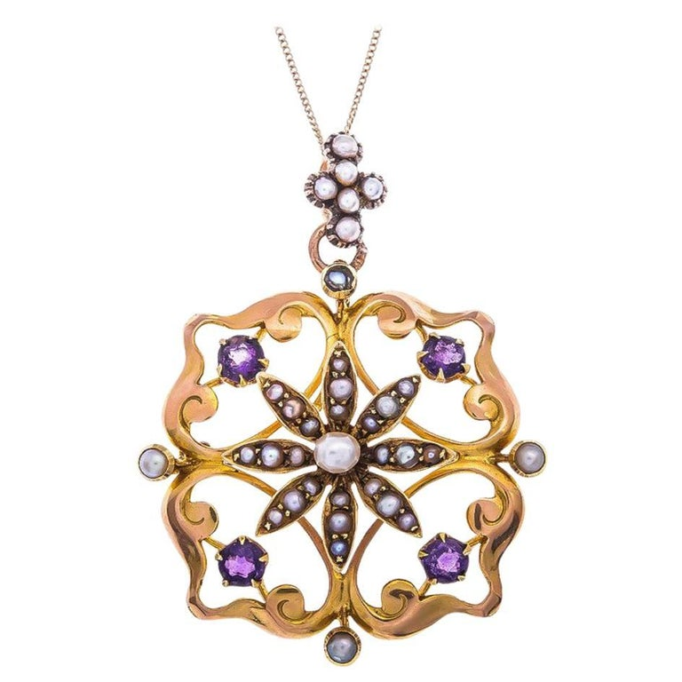 Edwardian 15 Carat Yellow Gold Amethyst and Seed Pearl Pendant / Brooch