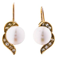 Vintage 9 Carat Gold Cultured Pearl and Diamond Screwback Earrings