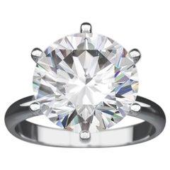 5 Carat Round Diamond Tiffany & Co. Style Solitaire Platinum Engagement Ring