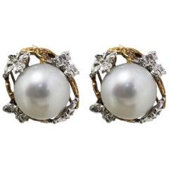 Luise Australian Pearl and Diamonds Stud Earrings