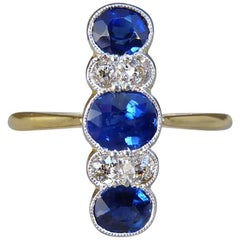 Antique Edwardian Sapphire and Diamond Vertical Seven-Stone Ring