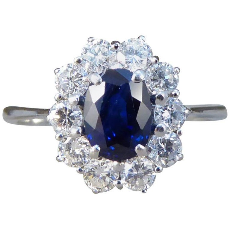 Sapphire and Diamond Cluster Engagement Ring in 18 Carat White Gold RG400 For Sale