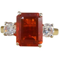 Contemporary Fire Opal and Diamond Three-Stone Ring in 18 Carat Gold