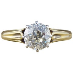 Late Victorian Diamond Solitaire Engagement Ring Set in 18 Carat Gold