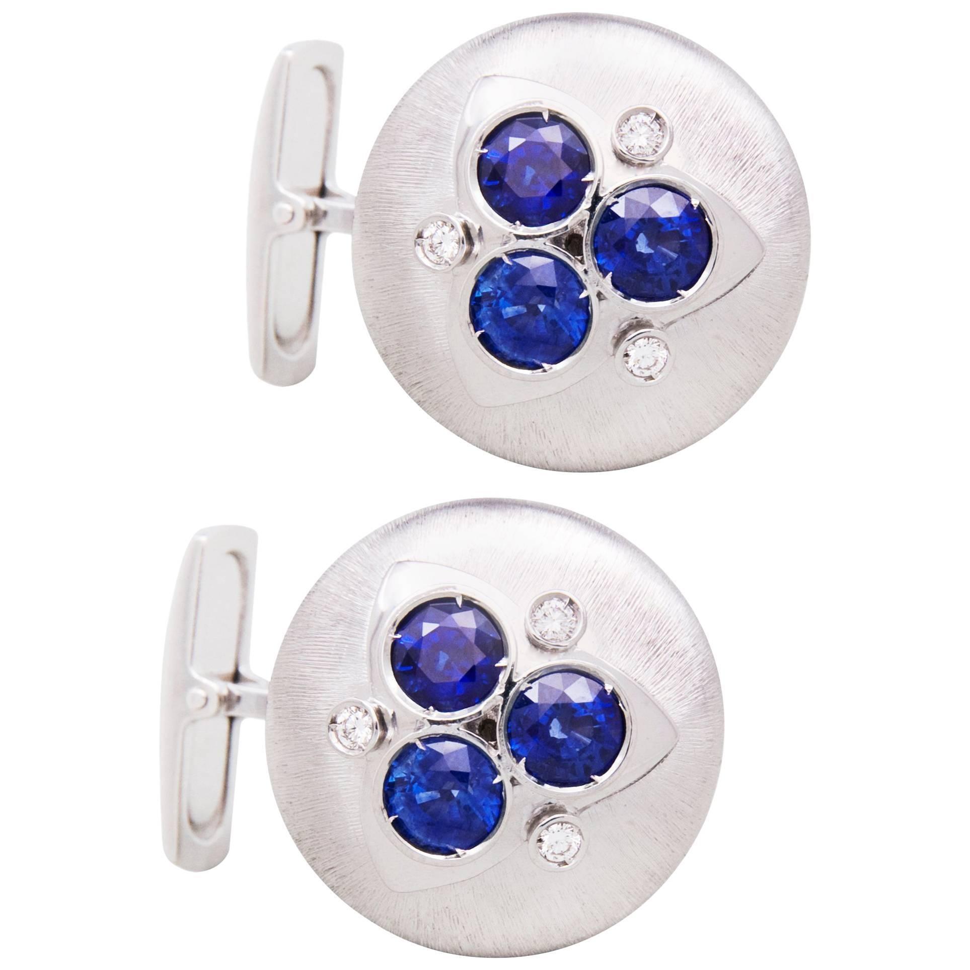 Ella Gafter Blue Sapphire Diamond Cufflinks