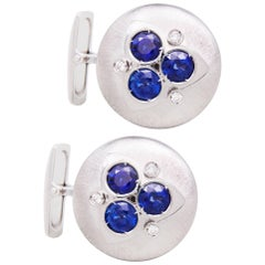 Ella Gafter Art Deco Style Blue Sapphire and Diamond White Gold Cufflinks