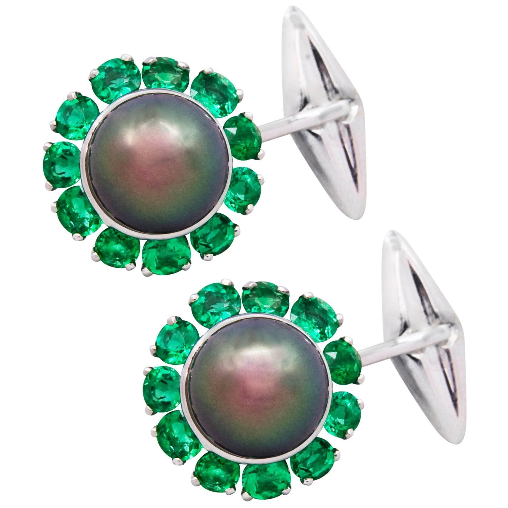 Ella Gafter Pearl Emerald Cufflinks