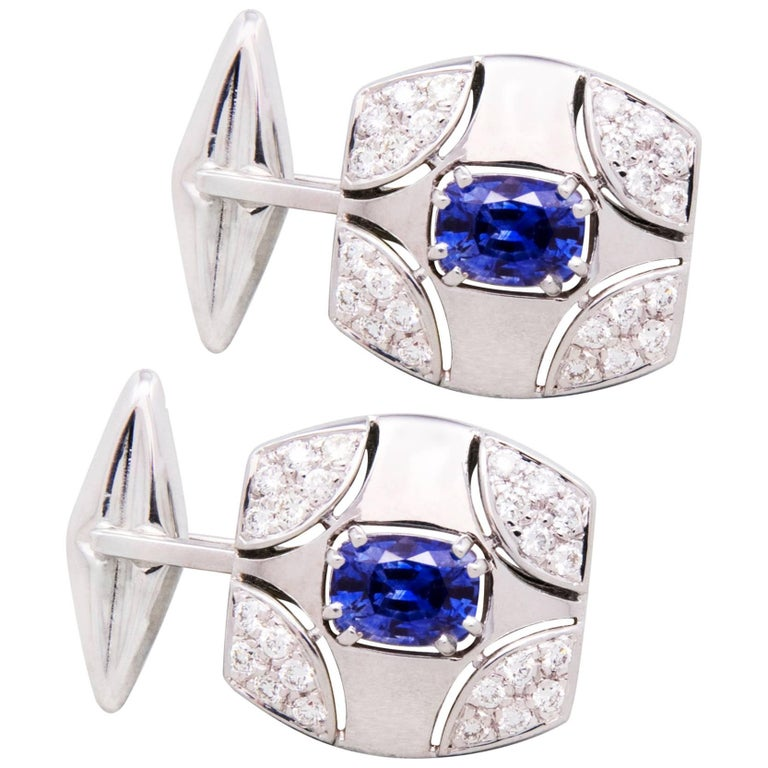 Ella Gafter White Gold Sapphire Diamond Cufflinks  For Sale