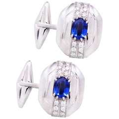 Ella Gafter Blue Sapphire and Diamond Cufflinks White Gold