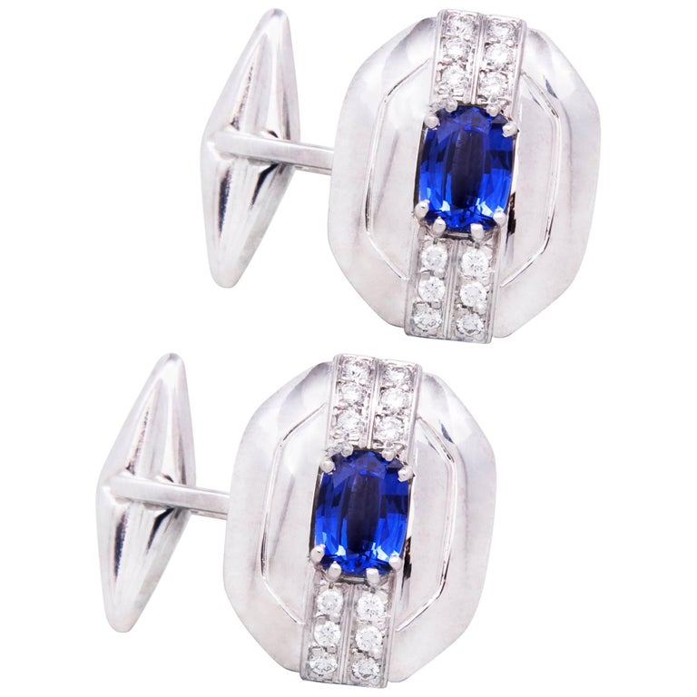 Ella Gafter Blue Sapphire and Diamond Cufflinks White Gold For Sale