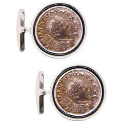 Ella Gafter Antique Silver Coin White Gold Cufflinks