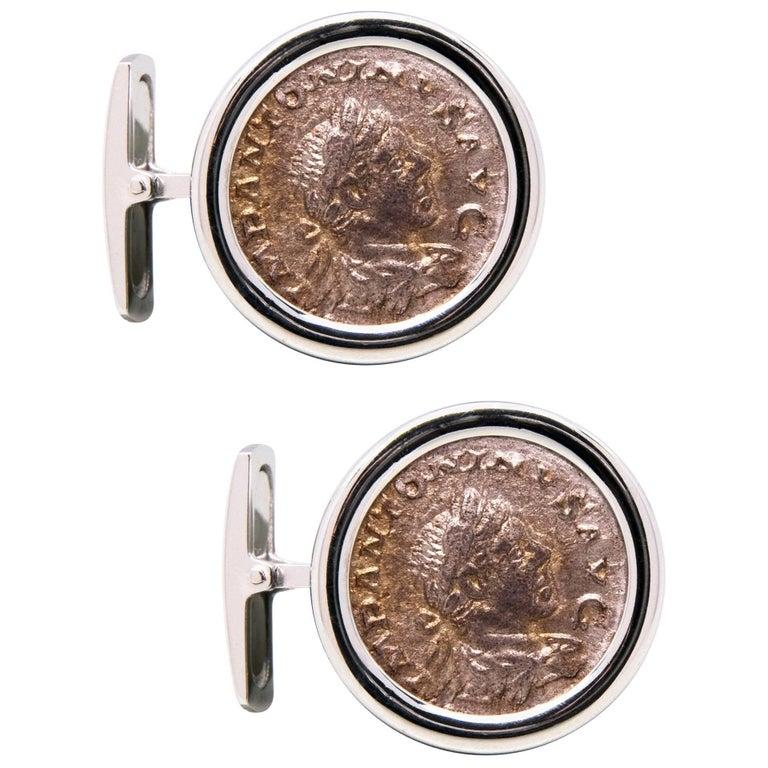 Ella Gafter White Gold Silver Coin Cufflinks  For Sale