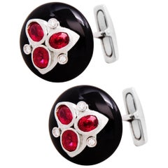 Ella Gafter Art Deco Style Ruby Diamond and Onyx White Gold Cufflinks