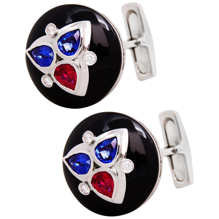 Ella Gafter Blue Sapphire Ruby Diamond Onyx White Gold Cufflinks