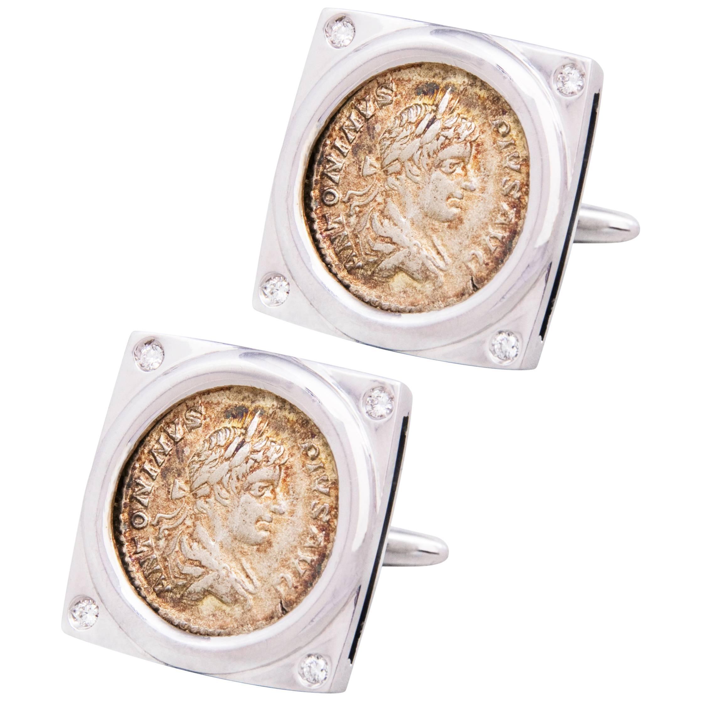 Ella Gafter White Gold Silver Coin Cufflinks