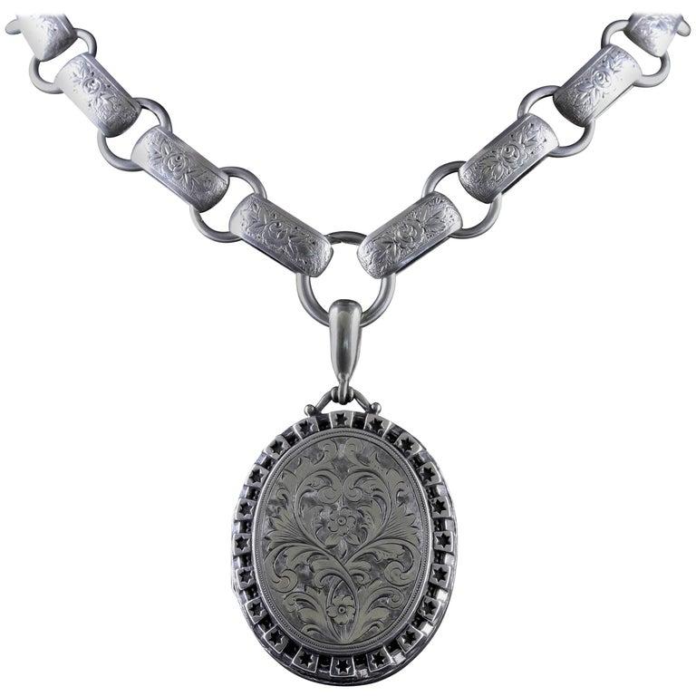 Antique Victorian Silver Locket Collar Dated 1880