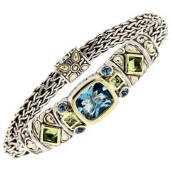 John Hardy Blue Topaz Peridot Sterling Silver and Gold Bracelet