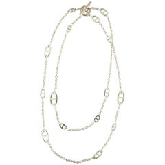 Hermes Farandole Long Sterling Silver Necklace