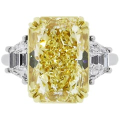 GIA Certified 10.34 Carat Fancy Yellow Radiant Cut Diamond Ring